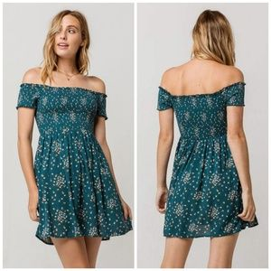 Mimi Chica Floral Smocked Off The Shoulder Dress